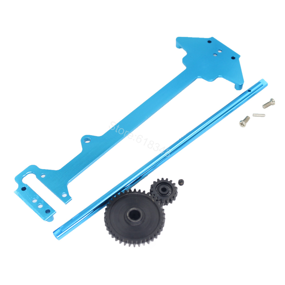 For WLtoys A969 Alum Radio Tray Centre Drive Joint Spur Metal Diff Main Gear 38T Motor Pinion 17T 1/18 RC Short Course Truck