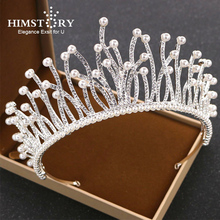 HIMSTORY Silver Color Bridal Tiaras Crown Headband Crystal Rhinestone Pageant Bride Hair Accessories Pearl Wedding Hairwear недорого