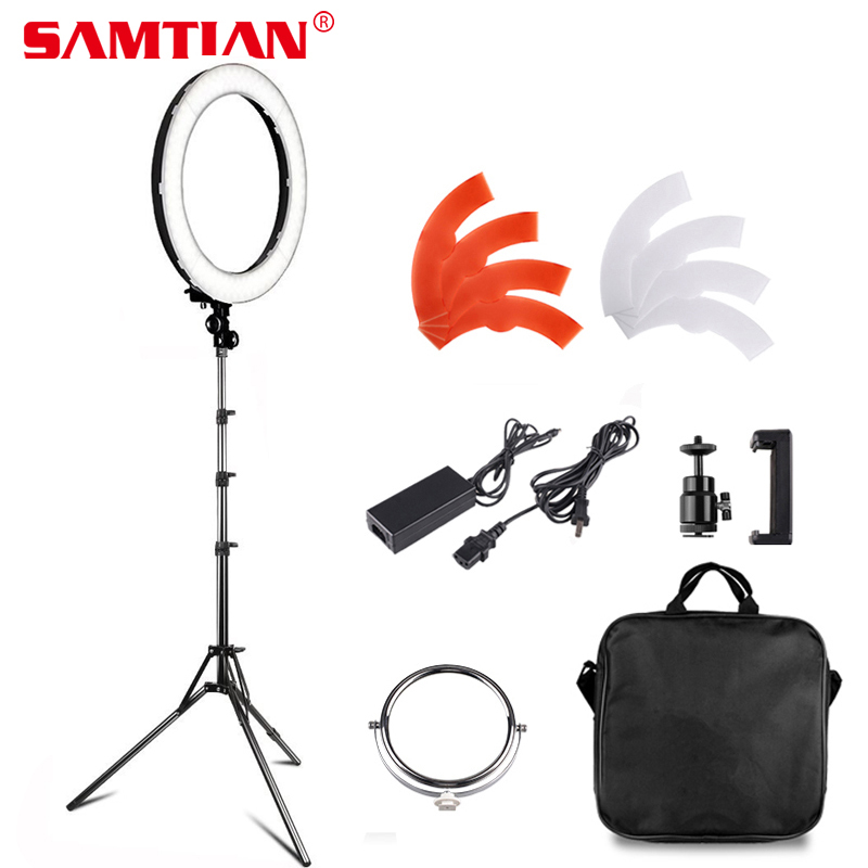 SAMTIAN Ring Light 18 Annular Make-up Lamp Dimmable LED Ring Light With Tripod For Camera Photo/Studio/Phone/Video/Photography fotopal 55w 5500k daylight led ring light lamp for photography camera phone video photo make up selfie light annular lamp
