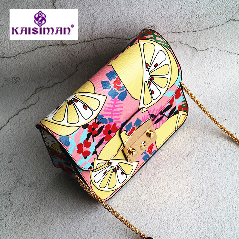 Lxuury Famous Deisgner Brand Women Handbags Turtle, Peacock, Woodpecker, Squirrel, Watermelon, Lemon, Orange Print Shoulder Bags