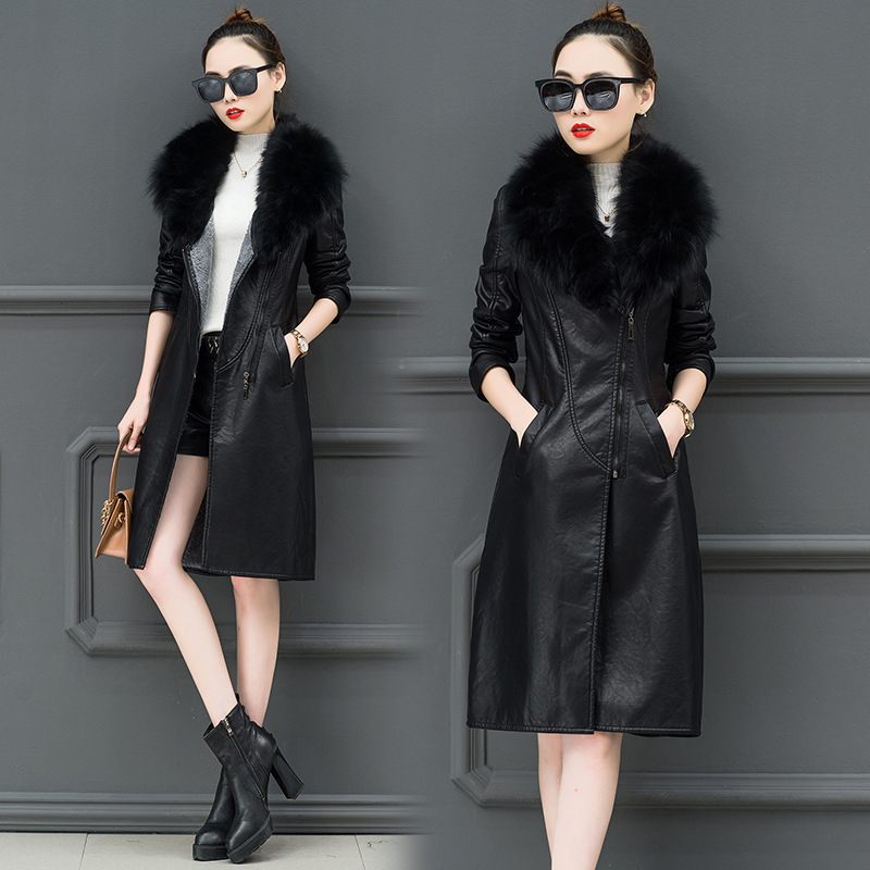 Women's   Leather   Jacket For Winter 2019 New Plus Velvet Warm Slim Big Fur Collar Long   Leather   Coat Female Outerwear M-4XL