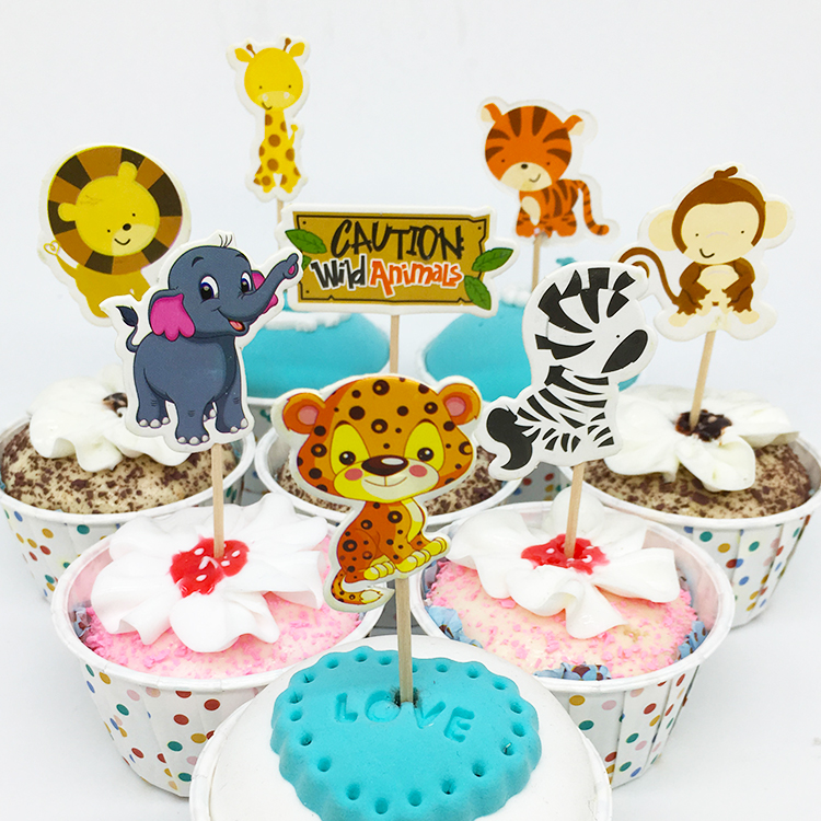 Peachy New Lovely Animal Lion Elephant Giraffe Cake Cupcake Topper Picks Personalised Birthday Cards Cominlily Jamesorg