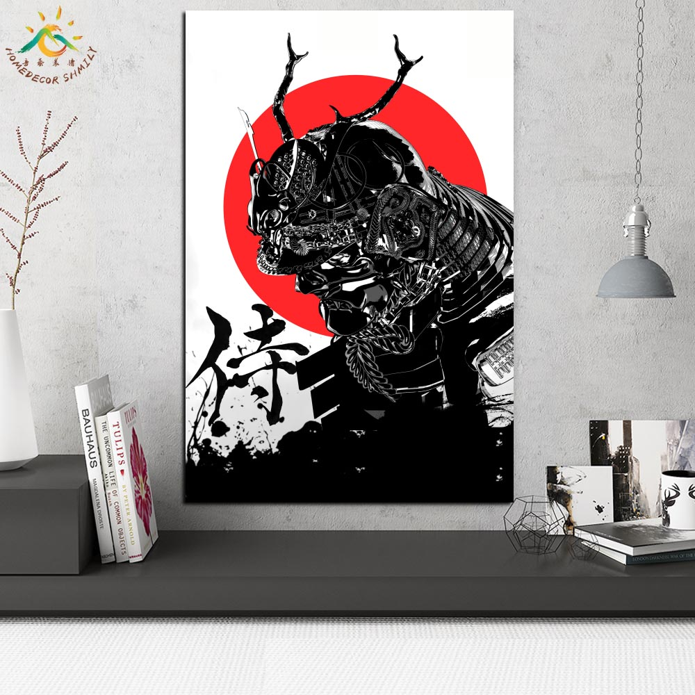 Black Japan Samurai Modern Canvas Art Prints Poster Wall Painting Scroll Painting Artwork Wall Art Pictures Home Decoration in Painting Calligraphy from Home Garden
