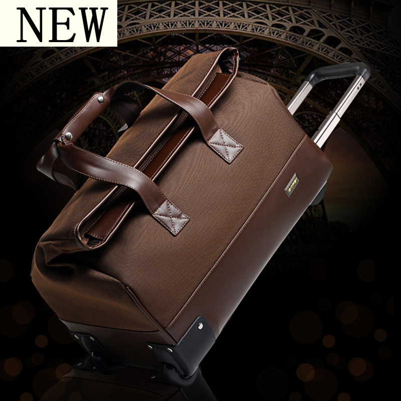 Fashion Female trolley bag Travel Bag male Business large capacity Rolling Luggage Suitcase Trunk Plaid Leather Boarding Box universal uheels trolley travel suitcase double shoulder backpack bag with rolling multilayer school bag commercial luggage