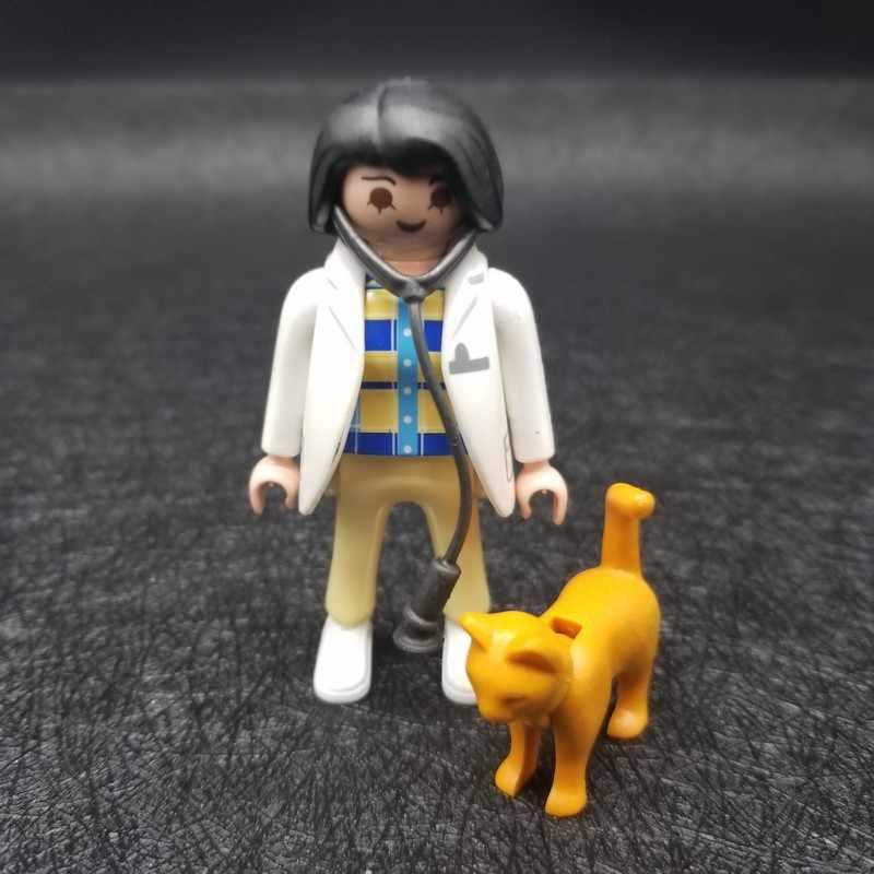Playmobil 7 cm Brinquedos Modelo Dolls Figuras de Ação Menina Bonito Do Gato Do Cão Animal MOC de Tijolos Brinquedos Para As Crianças Brinquedos X019