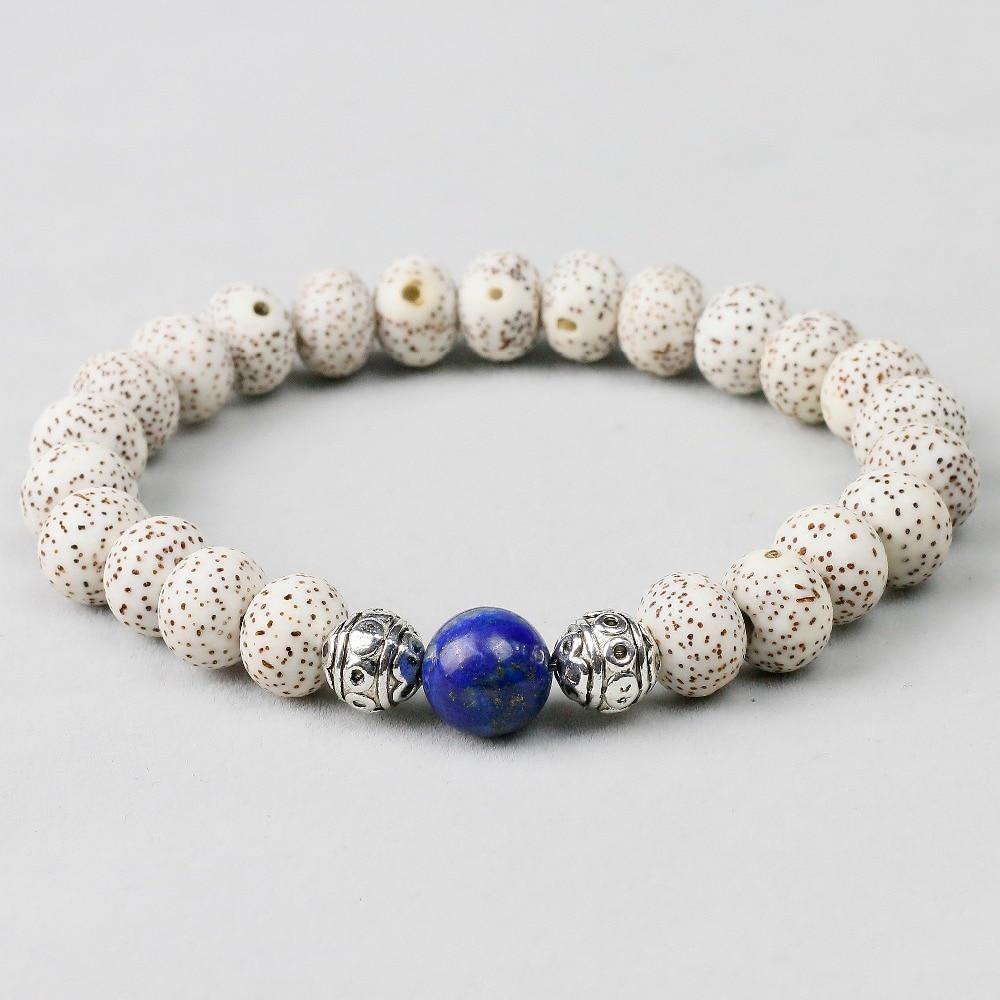 Natural Lapis Lazuli Bodhi Seed Beaded Bracelet Unisex Buddhist Prayer Yoga Meditation Beads Wrist Men Jewelry Handmade Women