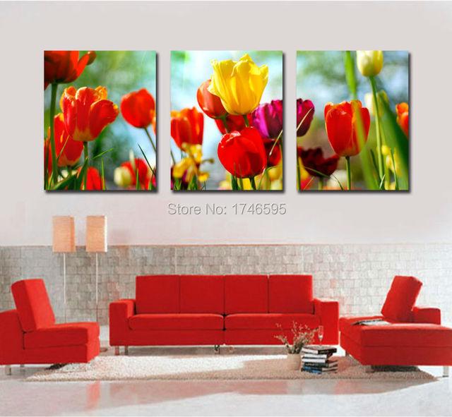 big pcs home wall decor abstract red yellow tulip canvas wall art