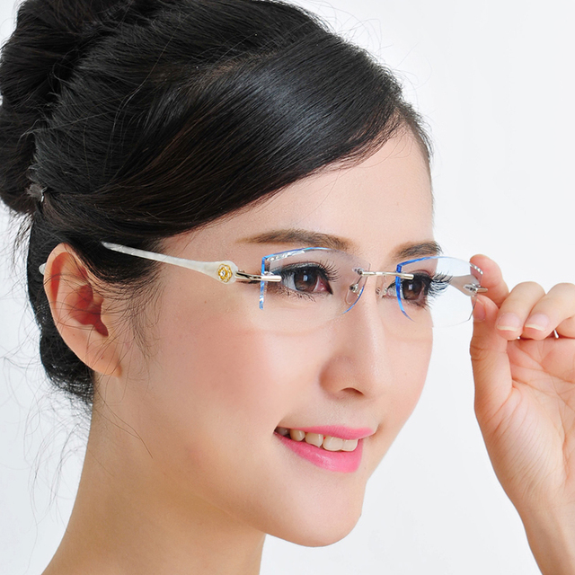 Altura magro feminino óculos sem aro óculos de diamante de corte terminou com personalizado cor óculos de prescrição óculos 94