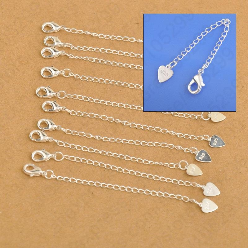 Wholesale Price 40PCS 925 Sterling Silver Love Heart Extension Long Chain With 925 Stamp Jewelry Findinds