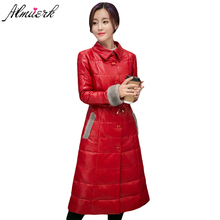 Warm Winter Coat Female Thick Down cotton Jackets Faux Fox Fur Collar Leather Jacket Slim Women's Clothing Jaqueta Couro  YZ396