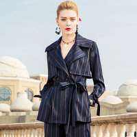Британский стиль в полоску длинные рукава блейзеры 2018 новые высококачественные офисные женские осенние пиджаки