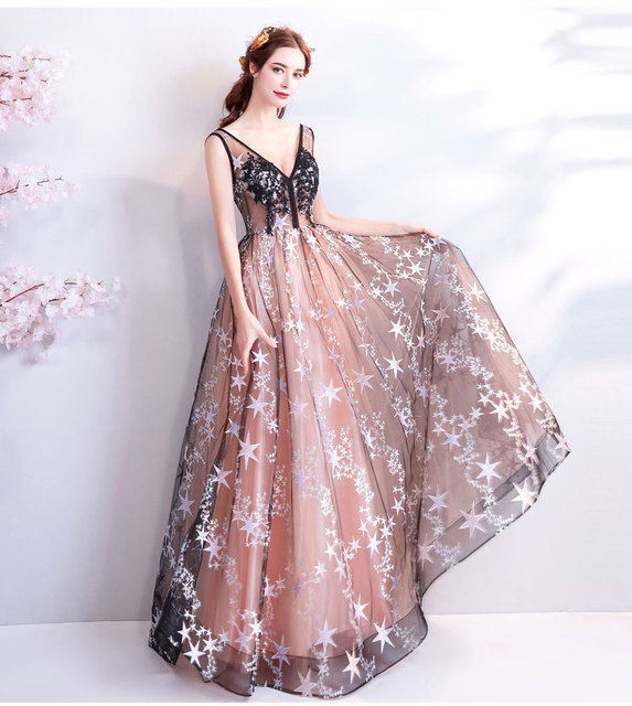 Stars Decoration V Neck Evening Dresses Embroidery Illusion Long