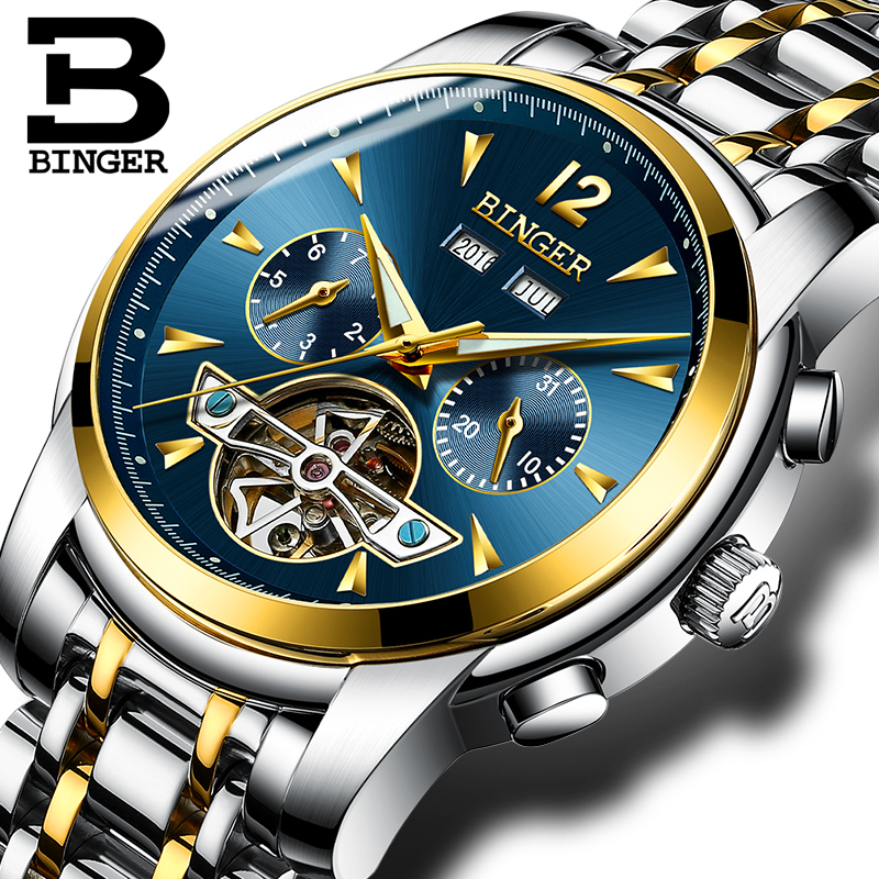 Switzerland BINGER Watches Men full Calendar Tourbillon sapphire multiple functions Water Resist Mechanical Wristwatches B8608M7