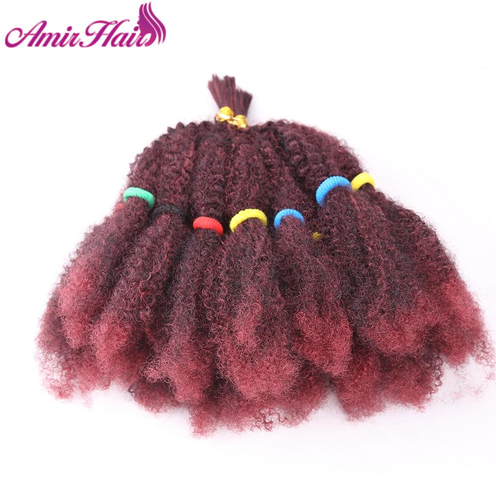 "Amir Marley Braids Hair Afro Kinky Bulk Synthetic Hair 14""Crochet Braid Hair For Women Hair Extensions"