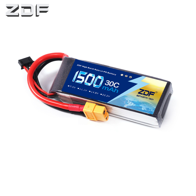 ZDF RC <font><b>Lipo</b></font> Battery 2S 3S 4S <font><b>6S</b></font> 7.4V 11.1v 14.8v 22.2v <font><b>1500mAh</b></font> 30C 60C AKKU Bateria For RC Model Car Airplane image