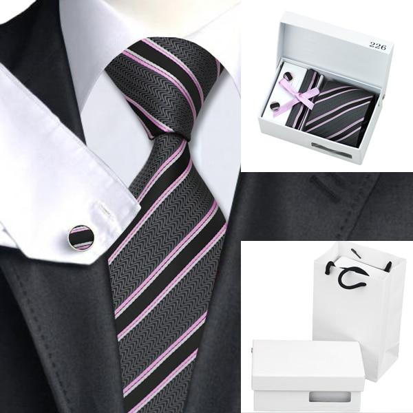 B-226 Mens Ties Gray Pink Black Stripe Silk Jacquard Necktie Hanky Cufflink Gift Box Bag Sets Ties For Men Business Wedding