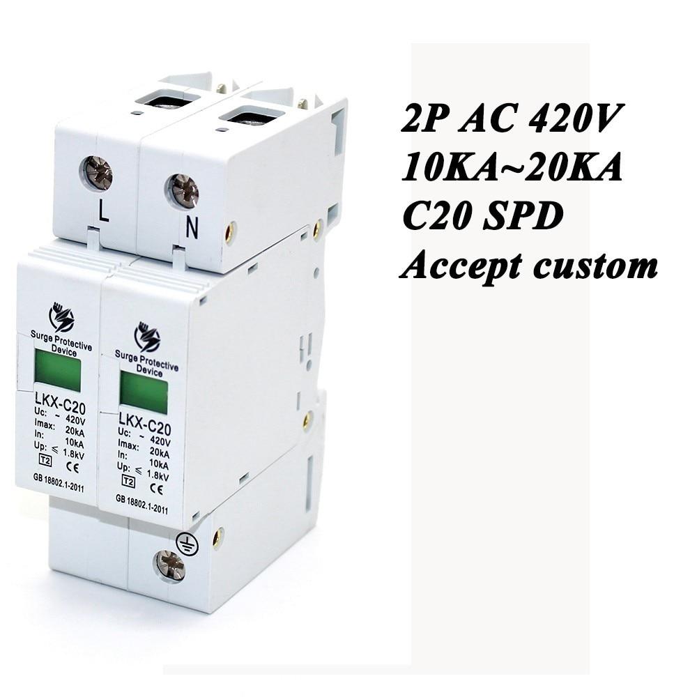 Hot Sale C20-2P 10KA~20KA ~420V AC SPD House Surge Protector Protective Low-voltage Arrester Device 1P+N Lightning Protection