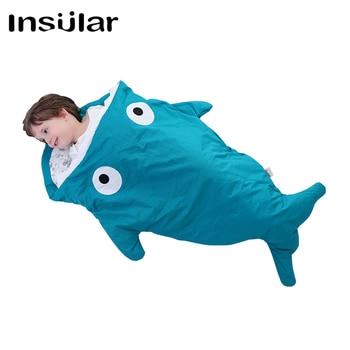 Insular 100% Katoen Shark Babyslaapzak Kinderen Slapen Zak Warm Baby Deken Warm Inbakeren Kinderen Quilt