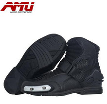 AMU Motorcycle Boots Leather Motocross Men Moto Riding Shoes Protection Breathable Botas Motorbike