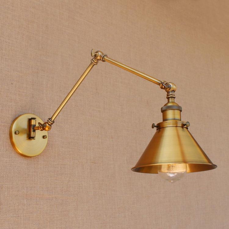 rh rustic brass loft style industrial wall lamp vintage adjustable long swing arm light fixtures. Black Bedroom Furniture Sets. Home Design Ideas