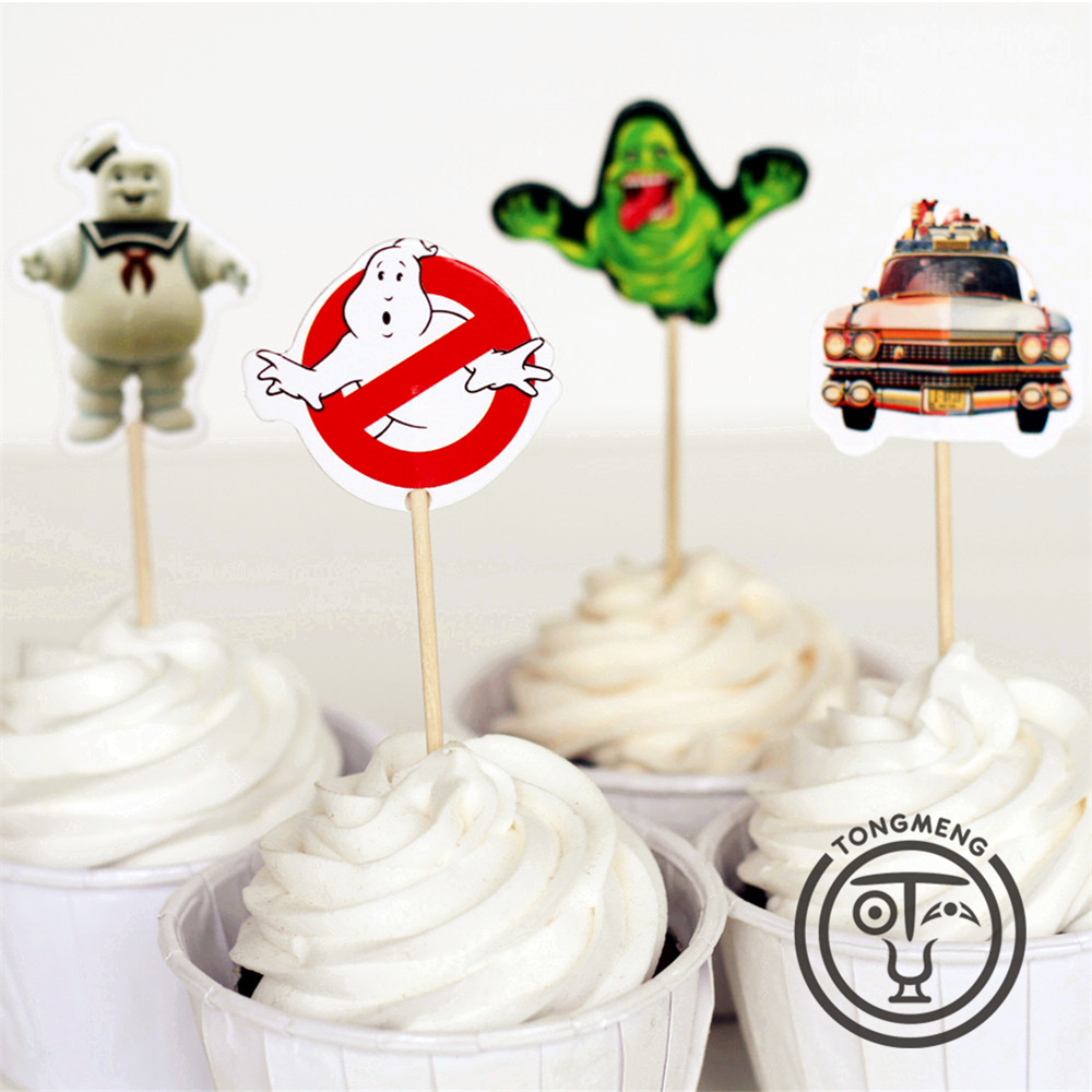 Bettwäsche Cupcake 72pcs Ghostbusters Stay Puft Peter Venkman Dana Barrett Candy Bar Cupcake Toppers Picks Baby Shower Kids Birthday Party Supply