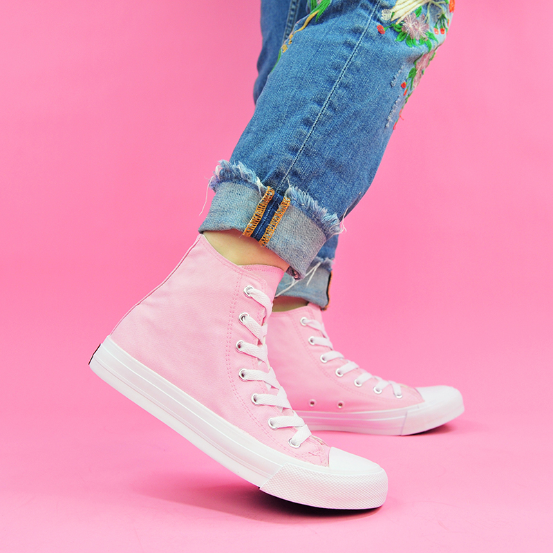 US $24.99 49% OFF|Wen Woman Shoes Vulcanize Shoes Girls Pink Shoes Color Original Design Shoes High Top Sneakers Women in Women's Vulcanize Shoes from