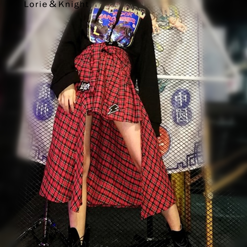 Японская Харадзюку Ретро Красная клетчатая панк Рок Асимметричная длинная юбка