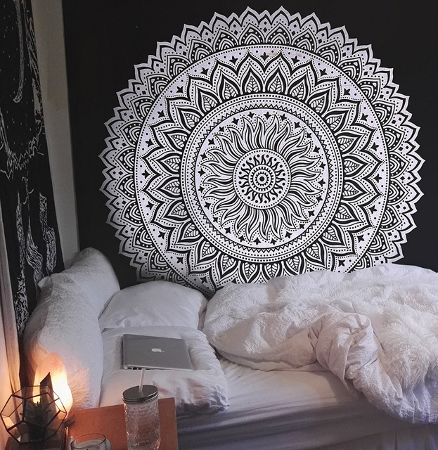 Cilected India Mandala Tapestry Endless Room Decoration Wall Hanging Hippie Sofa Throw Sheets Black White