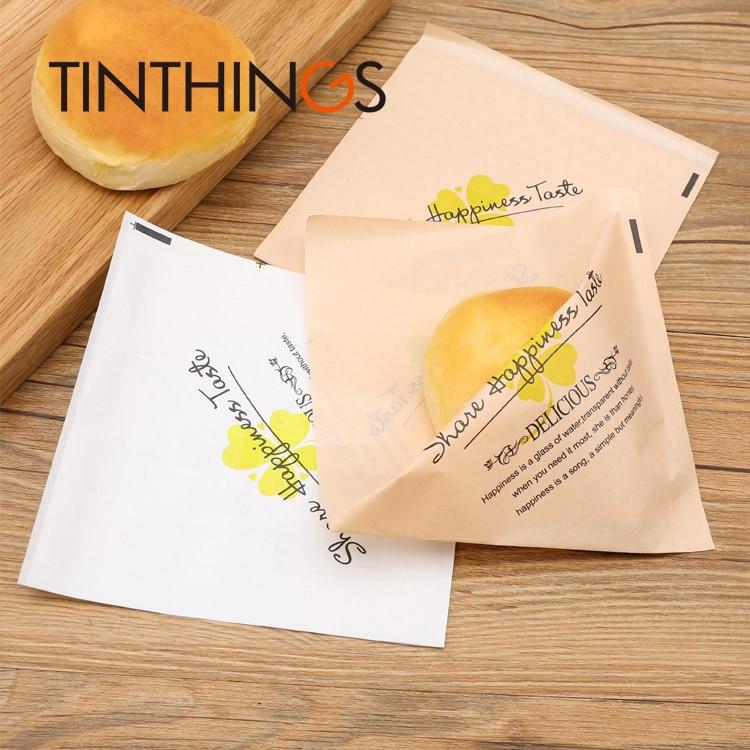20 Pcs 15x15cm Kraft Paper Packaging Bag Oil Proof Sandwich Donuts Bag Bakery Bread Food Bags Clover Newspaper Sweet Customized
