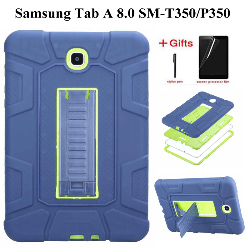 Hybrid Rubber Plastic+Silicone Shockproof Case For Galaxy Tab A 8.0 Cover For Samsung Tab A 8.0 SM-T355 SM-T350 Case+Film+Pen
