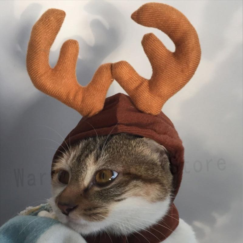 Pet Cat Dog Cap Hat For Puppy Teddy Kitten Christmas Elk Antler Reindeer Costume Warms house