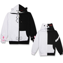 Animation monokuma black and white bear sweater men and women long sleeved cotton hooded cosplay coat autumn and winter models