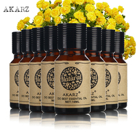 AKARZ Famous brand value meals Peppermint Geranium Eucalyptus lemon grass Lotus Basil Bergamot Myrrh essential Oils 10ml*8