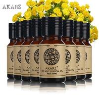 AKARZ Famous brand value meals Peppermint Geranium Eucalyptus lemon grass Lotus Basil Bergamot Myrrh essential Oils 10ml*8
