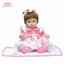NPK Bebes Reborn Dolls de Silicone Girl Body 40cm adorable Doll Toys For Girls boneca Baby Bebe Doll Best Gifts toys(China)