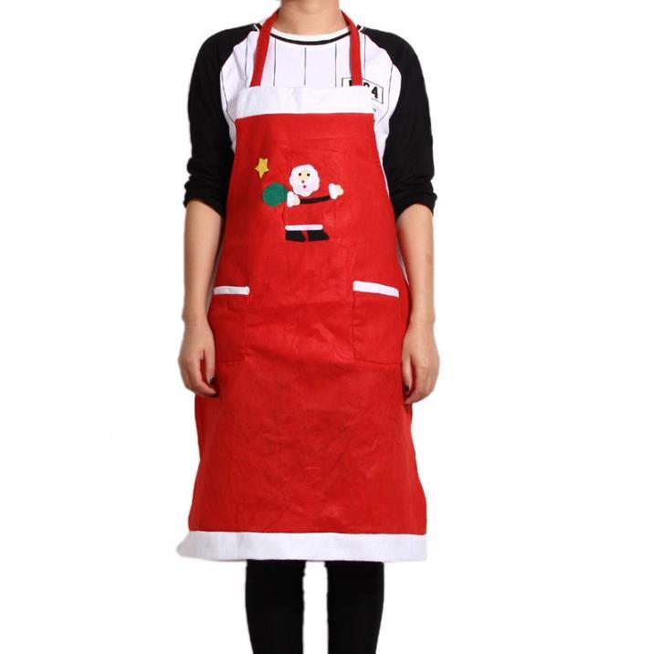 100 stks/partij X'mas Party Decoraties Fancy Kerstman Sneeuwpop Patroon Schorten Rode Kerst Koken Festival Diner Levert