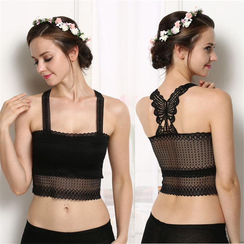 Sling anti-lighting sexy female tube top butterfly beauty back sexy temptation diamond lace bottoming women wrapped chest