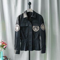 handsome delicate pocket embroidery sun emblem slim waist black cotton skirt pendulum short jacket