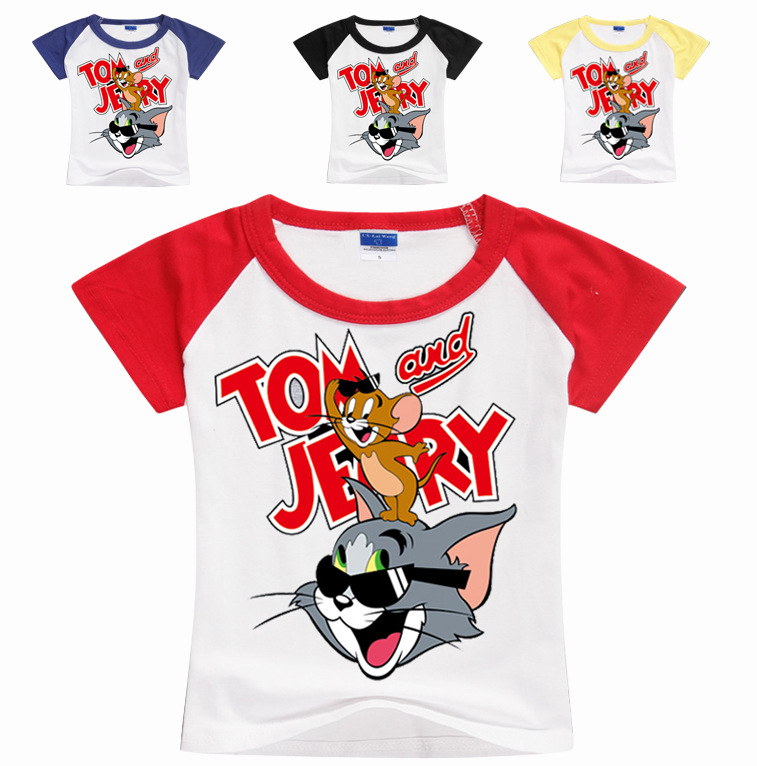 Pudcoco 2017 New Summer Bulk Toddler Kids Baby Tom and Jerry Shirt Kids T-shirt Boy Clothes Baby Girl Tops Fashion Nova N07051