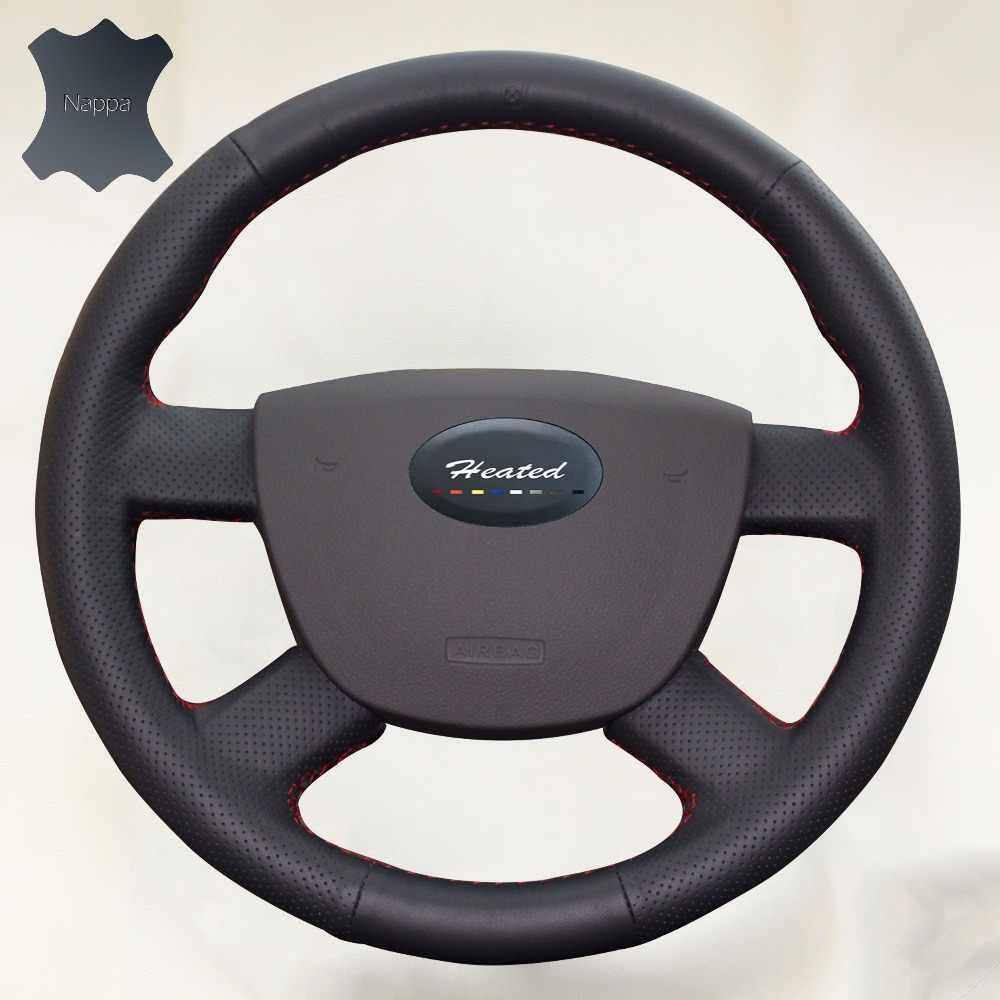 本物のナッパ革車のステアリングホイールカバー用フォードフォーカス2 2005-2011 capaパラボランチ組紐をステアリングホイール