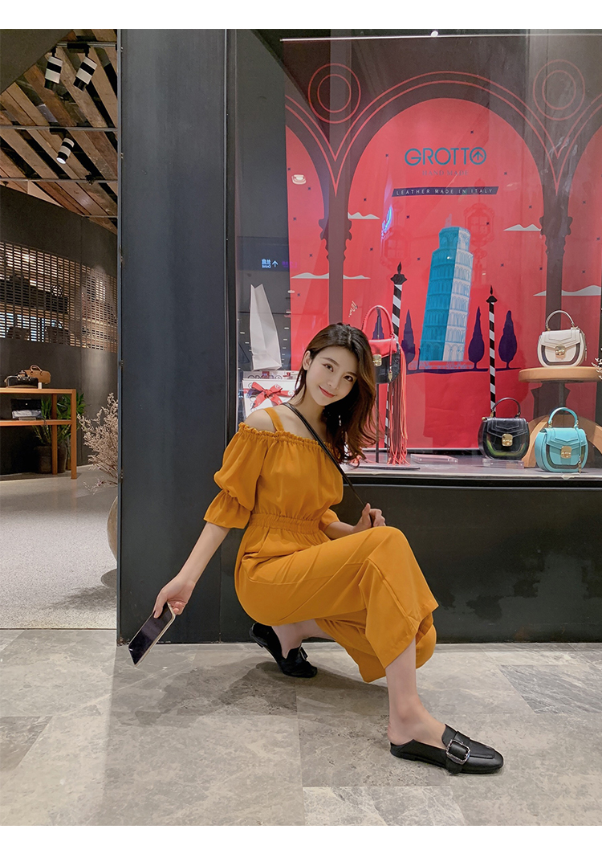 Women's Clothing 2019 Summer New Sexy Bohemian Style Spaghetti Strap Helf Sleeve High Waist Sling Long Beach Wide Leg Jumpsuit 23