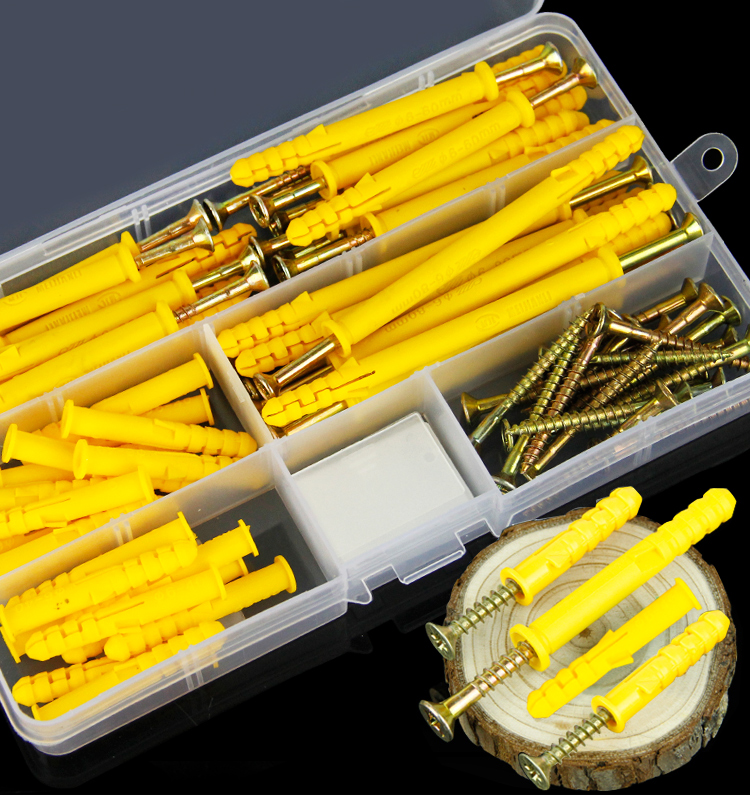 a16032300ux0513 Expansion Plug 8 mm x 40 mm Plastic Expansion Tube Wall Anchor Screw Yellow Plug 100 Pieces