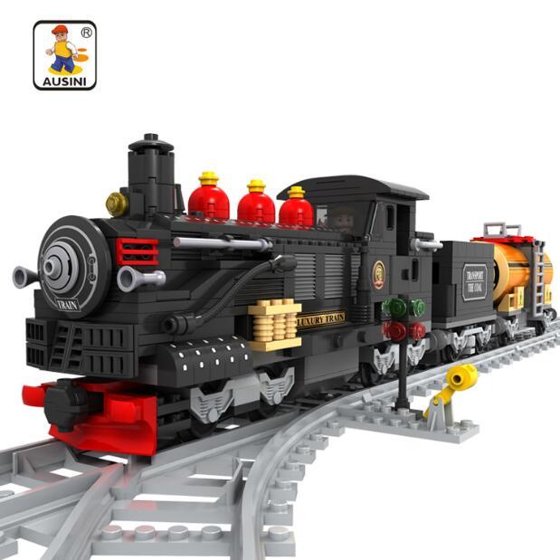 AUSINI 25812 Train blocs de construction train 462 pièces Train briques blocs enfants bricolage jouets éducatifs pour enfants 012
