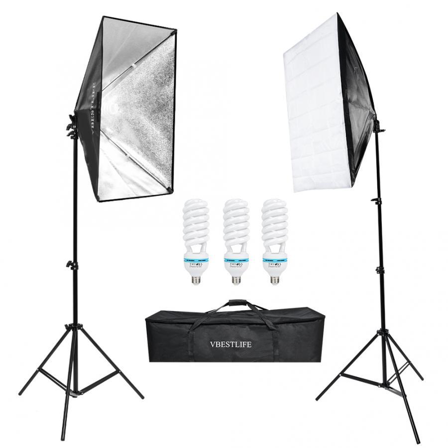 Photography Continuous Lighting Kits=(2Pcs)50*70cm Softbox Photo Studio Set+(3Pcs)135W Light Bulb+(2Pcs)2m Light Stand+Bags