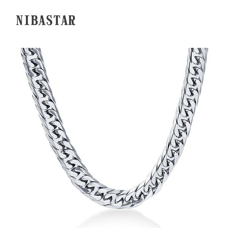 24'' Mens Chain Stainless Steel Necklace 8mm Curb Cuban Link Silver Color Fashion Jewelry emanco stainless steel jewelry femme rose gold color link chain necklace with cute pendants simple brand design fashion jewelry