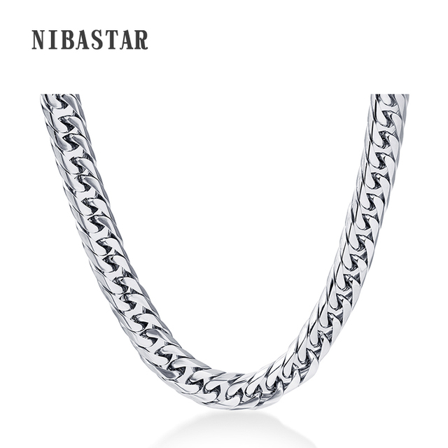 24'' Mens Chain Stainless Steel Necklace 8mm Curb Cuban Link Silver Color Fashio