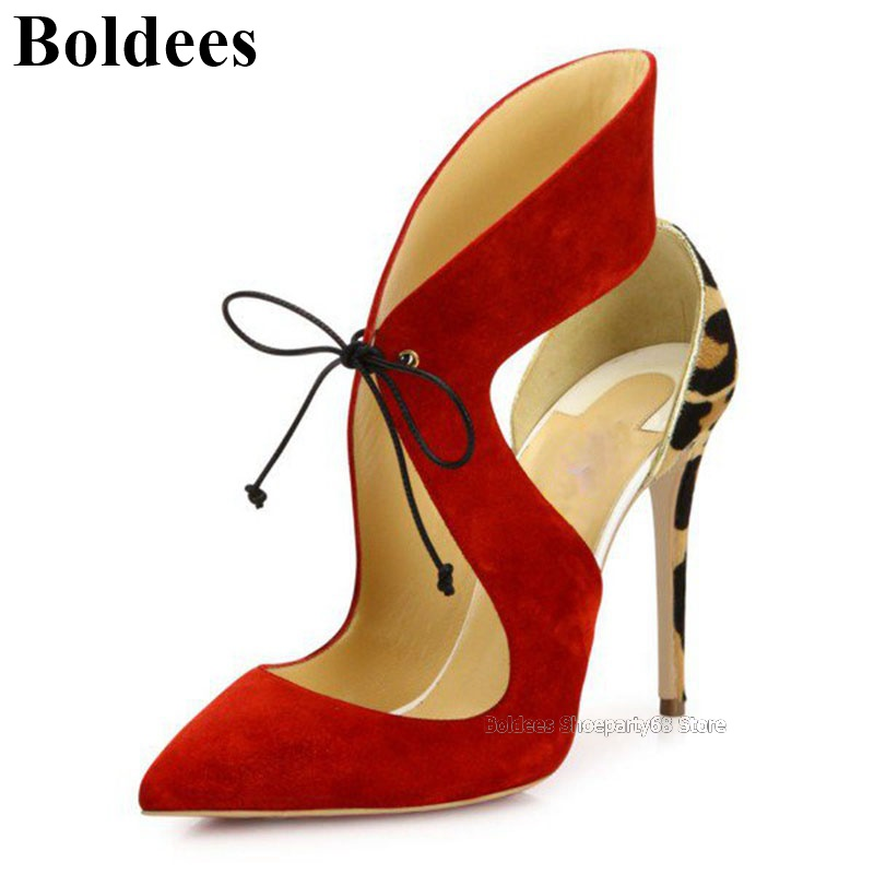 Fashion Pointed Toe Suede Leather Lace Up Tied Leopard Printed Sexy Women Dress Shoes Thin High Heels Stiletto Party PumpsFashion Pointed Toe Suede Leather Lace Up Tied Leopard Printed Sexy Women Dress Shoes Thin High Heels Stiletto Party Pumps