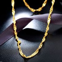 Fine Pure 999 24K Yellow Gold Chain Women Singapore Link Solid Necklace 18inch