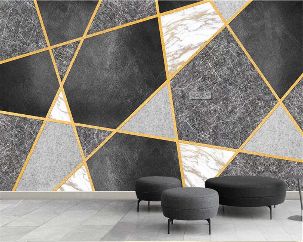 Beibehang 3D Wallpaper Modern Simple Splicing Geometry Marble Pattern TV Sofa Background photo murals wallpaper for walls 3 d wallpaper for walls 3 d modern trdimensional geometry 4d tv background wall paper roll silver gray wallpapers for living room