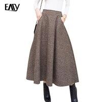Wysoka talia maxi jesień wełniana spódnica lady długi ciepły plisowane czarny/khaki zima spódnice kobiet 2017 plus size kobiet jupiter linii 2XL
